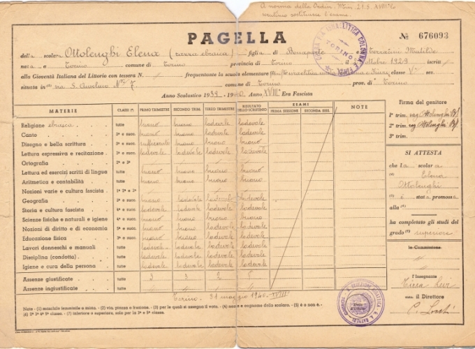 02.Elena Ottolenghi - Pagella 1939-1940