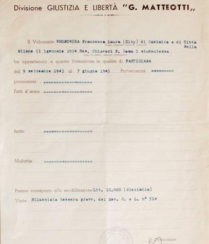 01.F.L. Wronowska - Documento CVL-Divisione GL Matteotti