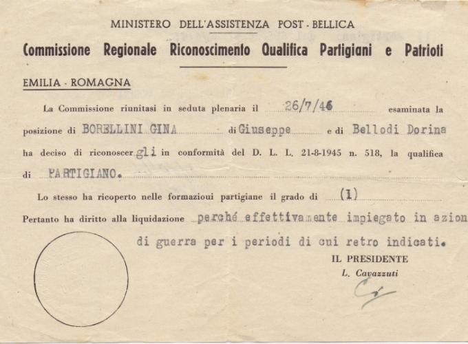 05.Gina Borellini - Documenti partigiani